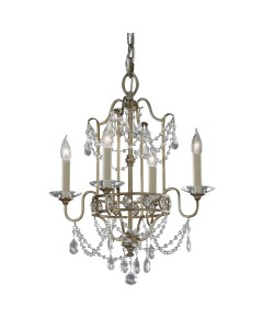 Feiss Gianna 4 Light Duo Mount Crystal Chandelier In Gilded Silver Finish