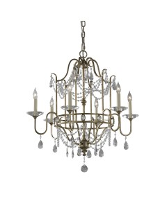 Feiss Gianna 6 Light Crystal Chandelier In Gilded Silver Finish