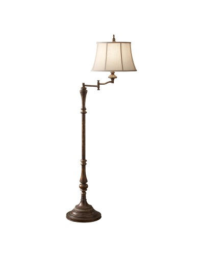 Feiss Gibson 1 Light Swing Arm Floor Lamp In Cambridge Crackle Finish With Desert Linen Fabric Shade