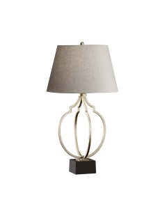 Feiss Grandeur 1 Light Table Lamp In Ebonized Silver Leaf Finish With Classic Grey Linen Shade