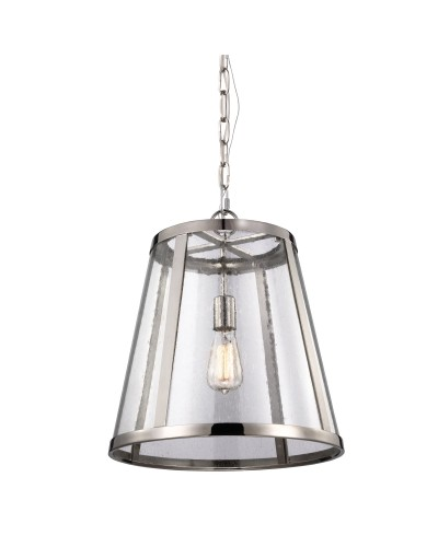 Feiss Harrow 1 Light Medium Pendant In Polished Nickel Finish With Chain