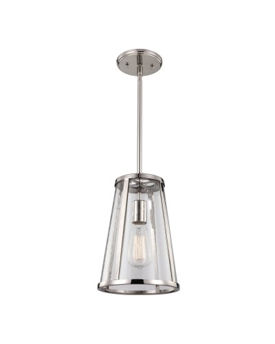 Feiss Harrow 1 Light Small Pendant In Polished Nickel Finish With Height Adjustable Rods