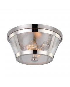 Feiss Harrow 2 Light Flush Mounted Ceiling Light In Polished Nickel Finish