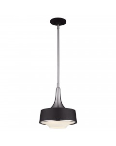 Feiss Holloway 1 Light Mini Pendant In Brushed Steel/Textured Black Finish With Height Adjustable Rods