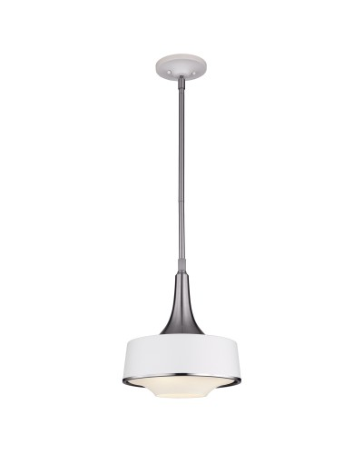 Feiss Holloway 1 Light Mini Pendant In Brushed Steel/Textured White Finish With Height Adjustable Rods