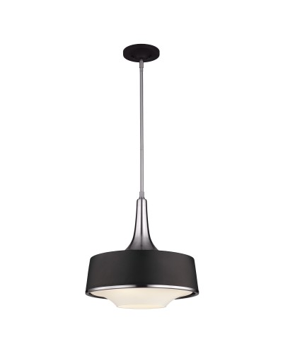 Feiss Holloway 4 Light Pendant In Brushed Steel/Textured Black Finish With Height Adjustable Rods