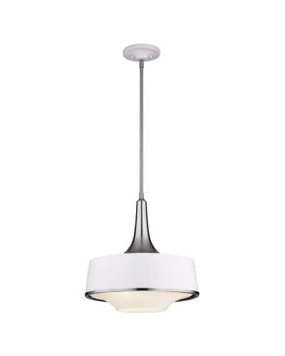 Feiss Holloway 4 Light Pendant In Brushed Steel/Textured White Finish With Height Adjustable Rods