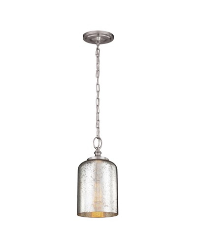 Feiss Hounslow 1 Light Mini Pendant In Brushed Steel Finish With Silver Mercury Glass Shade