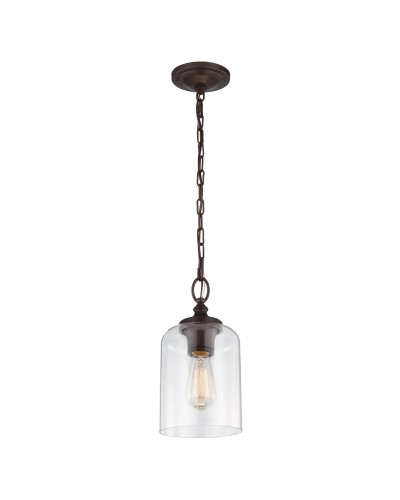 Feiss Hounslow 1 Light Mini Pendant In Oil Rubbed Bronze Finish With Clear Glass Shade