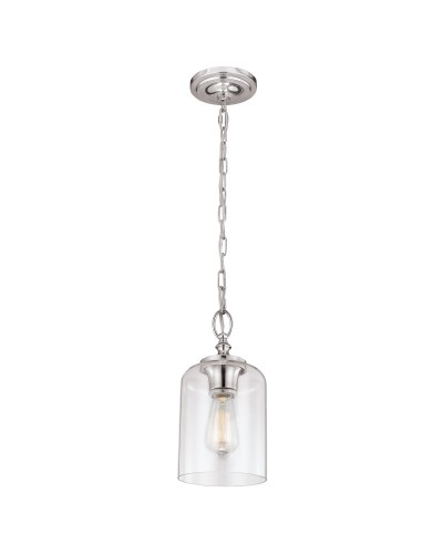 Feiss Hounslow 1 Light Mini Pendant In Polished Nickel Finish With Clear Glass Shade