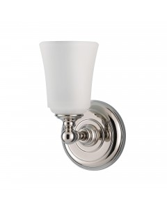 Feiss Huguenot Lake 1 Light Bathroom Wall Light In Polished Chrome Finish With Opal Glass Shade (IP44)