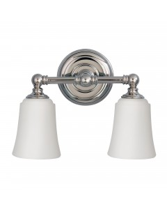 Feiss Huguenot Lake 2 Light Above Mirror Bathroom Wall Light In Polished Chrome Finish With Opal Glass Shades (IP44)