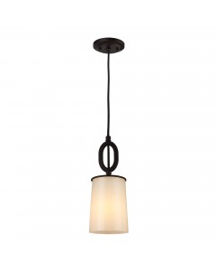 Feiss Huntley 1 Light Mini Pendant In Oil Rubbed Bronze Finish With Powder Ivory Frit Glass