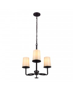 Feiss Huntley 3 Light Chandelier In Oil Rubbed Bronze Finish With Powder Ivory Frit Glass Shades