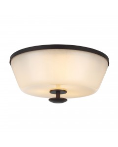 Feiss Huntley 3 Light Flush Mounted Ceiling Light In Oil Rubbed Bronze Finish With Powder Ivory Frit Glass