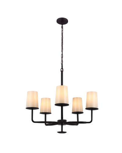 Feiss Huntley 5 Light Chandelier In Oil Rubbed Bronze Finish With Powder Ivory Frit Glass Shades