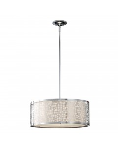 Feiss Joplin 3 Light Large Pendant In Chrome Finish With Height Adjustable Rods