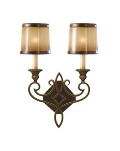 Feiss Justine 2 Light Wall Light In Astral Bronze Finish