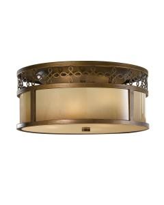 Feiss Justine 3 Light Flush Ceiling Light In Astral Bronze Finish