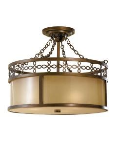 Feiss Justine 3 Light Semi-Flush Ceiling Light In Astral Bronze Finish