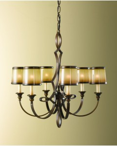 Feiss Justine 6 Light Chandelier In Astral Bronze Finish