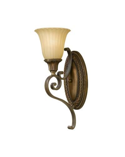 Feiss Kelham Hall 1 Light Wall Light In British Bronze Finish With India Scavo Glass Shade