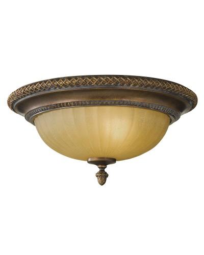 Feiss Kelham Hall 2 Light Flush Ceiling Light In British Bronze Finish