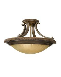 Feiss Kelham Hall 2 Light Semi-Flush Ceiling Light In British Bronze Finish