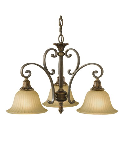 Feiss Kelham Hall 3 Light Downlight Chandelier In British Bronze Finish With India Scavo Glass Shades