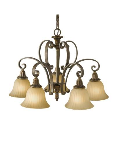 Feiss Kelham Hall 5 Light Downlight Chandelier In British Bronze Finish With India Scavo Glass Shades