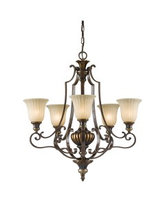 Feiss Kelham Hall 5 Light Uplight Chandelier In British Bronze Finish With India Scavo Glass Shades