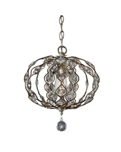 Feiss Leila 1 Light Duo-Mount Mini Crystal Pendant In A Burnished Silver Finish
