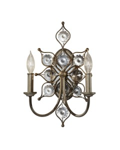 Feiss Leila 2 Light Crystal Wall Light In A Burnished Silver Finish