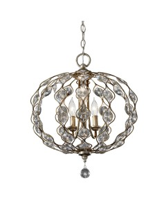 Feiss Leila 3 Light Crystal Pendant Chandelier In A Burnished Silver Finish