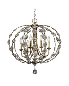 Feiss Leila 6 Light Large Crystal Pendant Chandelier In A Burnished Silver Finish