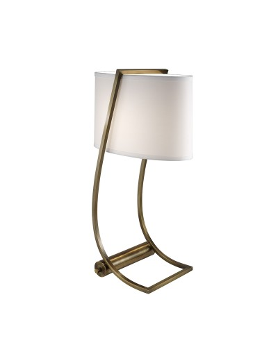 Feiss Lex Desk Lamp In Bali Brass Finish With White Cotton Shade and Built-In USB Port