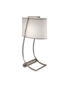 Feiss Lex Desk Lamp In Brushed Steel Finish With True White Cotton Shade and Built-In USB Port