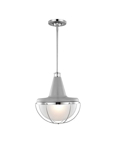 Feiss Livingston 1 Light Medium Pendant OR Semi-Flush Ceiling Light In High Gloss Grey/Polished Nickel With Height Adjustable Rods