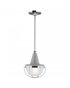 Feiss Livingston 1 Light Mini Pendant OR Semi-Flush Ceiling Light In High Gloss Grey/Polished Nickel With Height Adjustable Rods