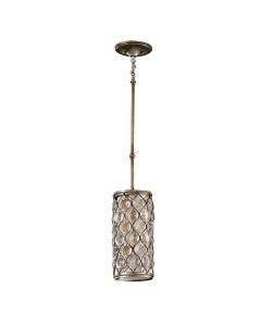 Feiss Lucia 1 Light Crystal Mini Pendant In A Burnished Silver Finish With Height Adjustable Rods