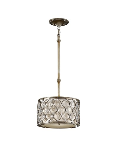 Feiss Lucia 1 Light Crystal Pendant In A Burnished Silver Finish With Height Adjustable Rods