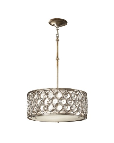 Feiss Lucia 2 Light Crystal Pendant In A Burnished Silver Finish With Height Adjustable Rods