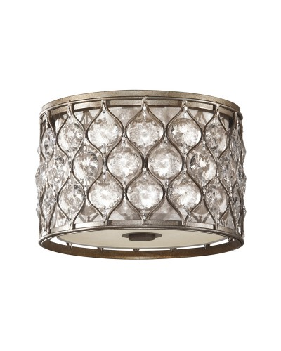 Feiss Lucia 2 Light Flush Crystal Ceiling Light In A Burnished Silver Finish