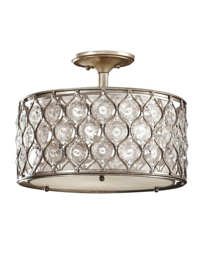 Feiss Lucia 3 Light Crystal Semi-Flush Ceiling Light In A Burnished Silver Finish