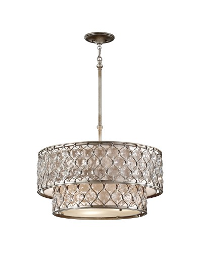 Feiss Lucia 6 Light Two Tier Crystal Pendant In A Burnished Silver Finish With Height Adjustable Rods