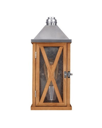 Feiss Lumiere 1 Light Outdoor Small Wall Lantern In Natural Oak
