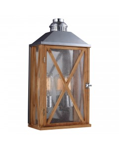 Feiss Lumiere 2 Light Outdoor Medium Wall Lantern In Natural Oak