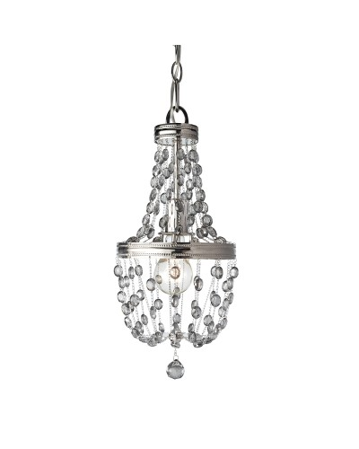 Feiss Malia 1 Light Mini Crystal Pendant In A Polished Nickel Finish