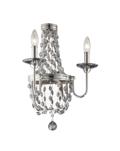 Feiss Malia 2 Light Crystal Wall Light In A Polished Nickel Finish
