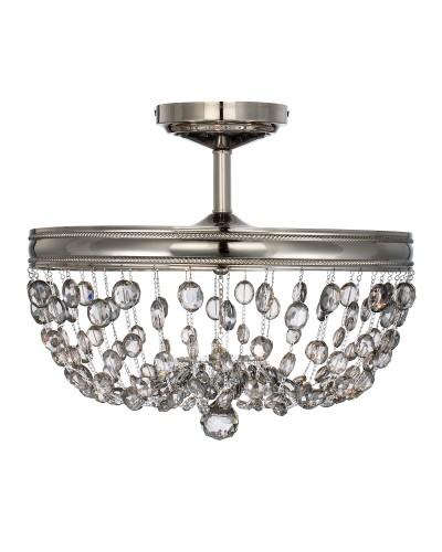 Feiss Malia 3 Light Crystal Semi-Flush Ceiling Light In A Polished Nickel Finish